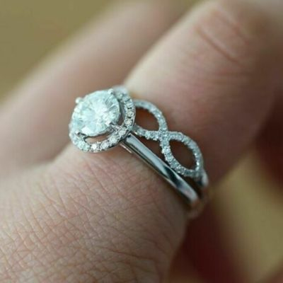 1.40 Ct Round Cut Moissanite Halo With Twisted Wedding Ring Set 14K White Gold