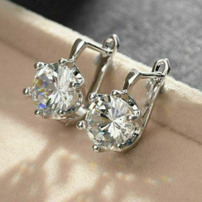 3.00 Ct Round Moissanite Solitaire Drop/Dangle Earring Solid 14k White Gold