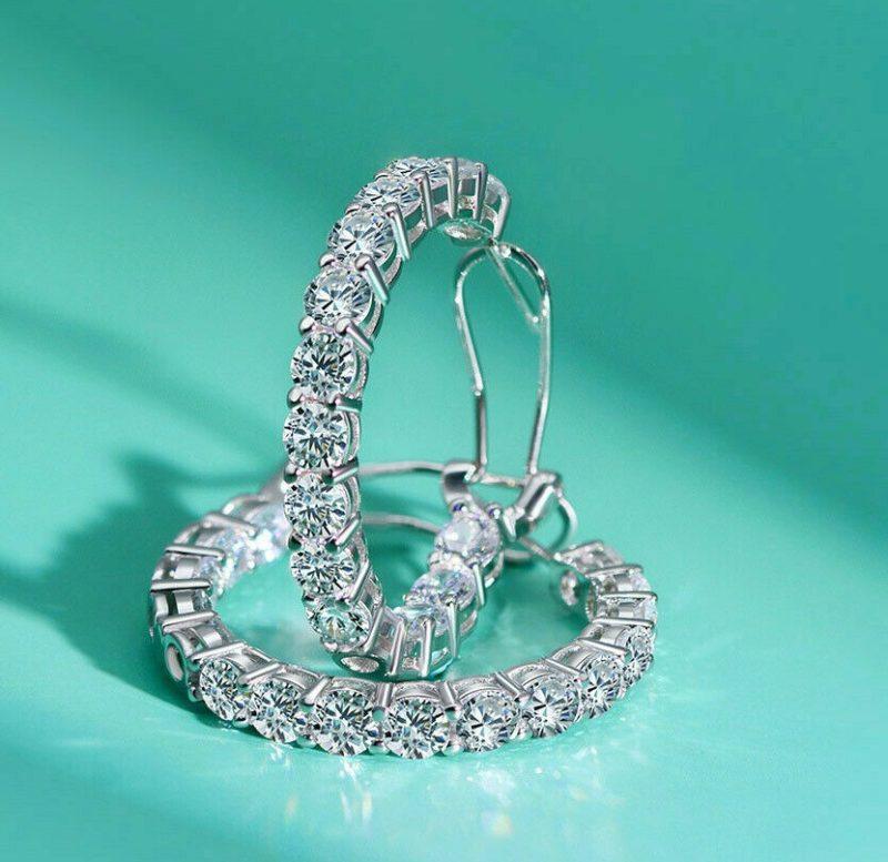 3.00 Ctw Round VVS1 Moissanite Huggie/Hoop Earrings Solid 14k White Gold