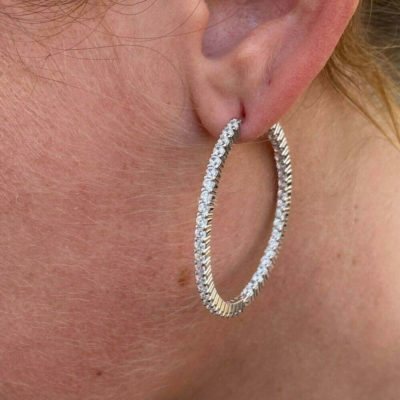 3.10 Ctw Round Moissanite Inside Out-Side Hoop Earrings In Solid 14k White Gold
