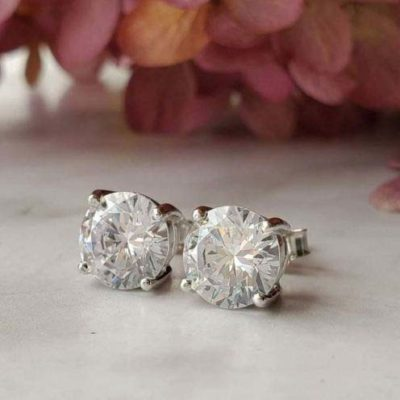 2.60 Ct Solitaire Round Cut Moissanite Stud Earrings 14k White Gold Plated