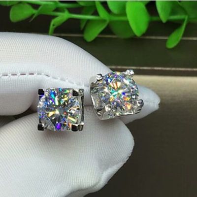 4CT Excellent Cut Moissanite Solitaire U-Prong Stud Earrings Solid 14k White Gold Over