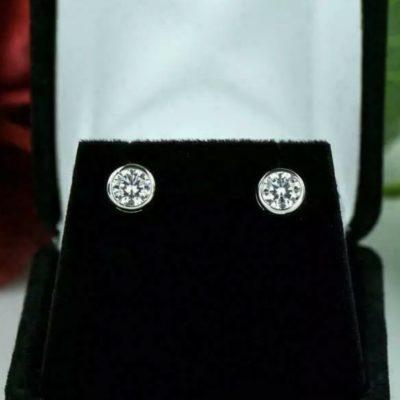 4CT Round Cut Near White Moissanite Bezel Set Stud Earrings 14k White Gold