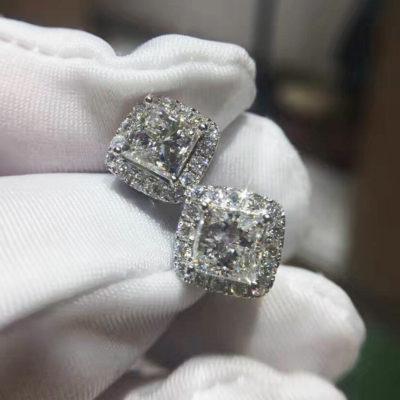 2.53 Ctw Princess Cut Moissanite Halo Stud Earrings Screw-back Solid 14k White Gold Earrings
