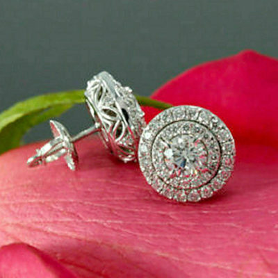 2.50 Ctw Round Cut Moissanite Double Halo Screw-Back Earrings Solid 14k White Gold Finish