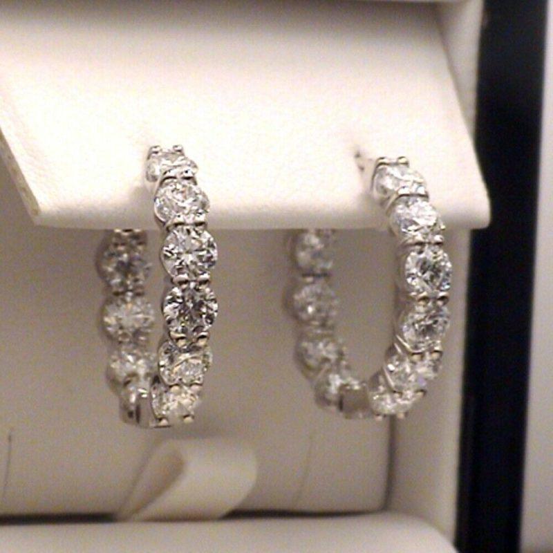 3.30 CT Inside Out-Side Round Moissanite Wedding Huggie/Hoop Earrings 14k White Gold