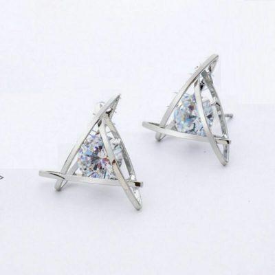 2CT Round Moissanite Push-Back Stud Fancy Earrings In 14k White Gold Plated