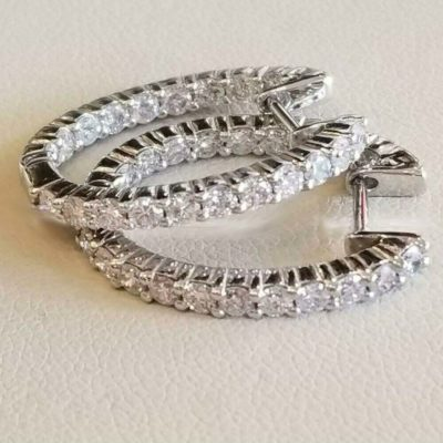 3.10 Ct Round Inside Out-Side Diamond Hoop Earrings Solid 14k White Gold