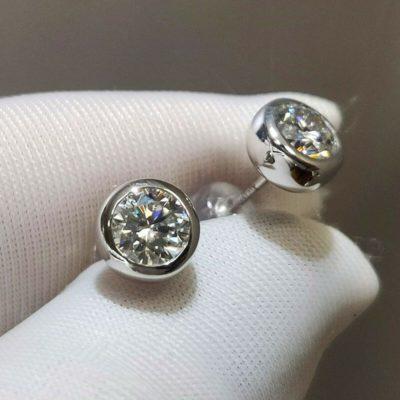 Bezel Set 2.Ct Round VVS1 Moissanite Screw-back Stud Earrings Solid 10k White Gold