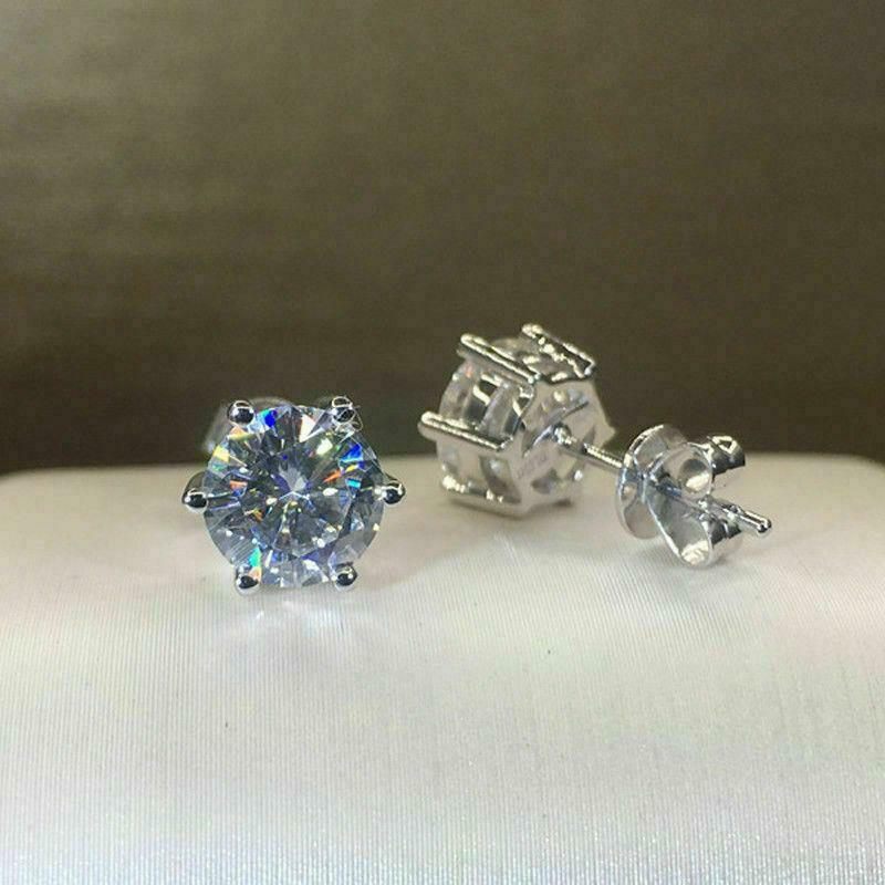 3.30 Ctw Near White Round Moissanite Solitaire Stud Earrings Solid 14k White Gold