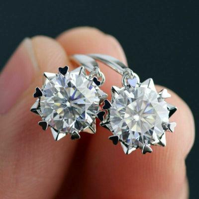 2.60 CT Round Moissanite Heart Shape Prong-Set Hook Earrings 14k White Gold Plated