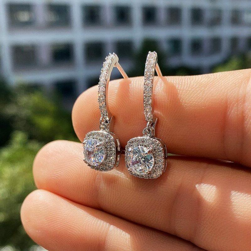 2.90 Ctw Brilliant Cut Near White Diamond Drop/Dangle Earrings Solid 14k White Gold