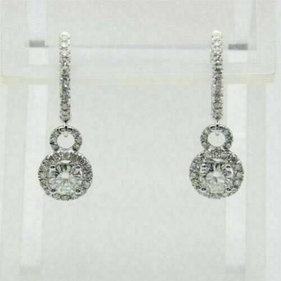 2.80 Ctw Round VVS1 Moissanite Diamond Halo Earrings In 14k White Gold Over