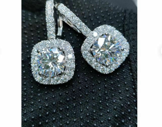 3 Ct Round Cut Near White Moissanite Halo Drop/Dangle Earrings Solid 14k White Gold