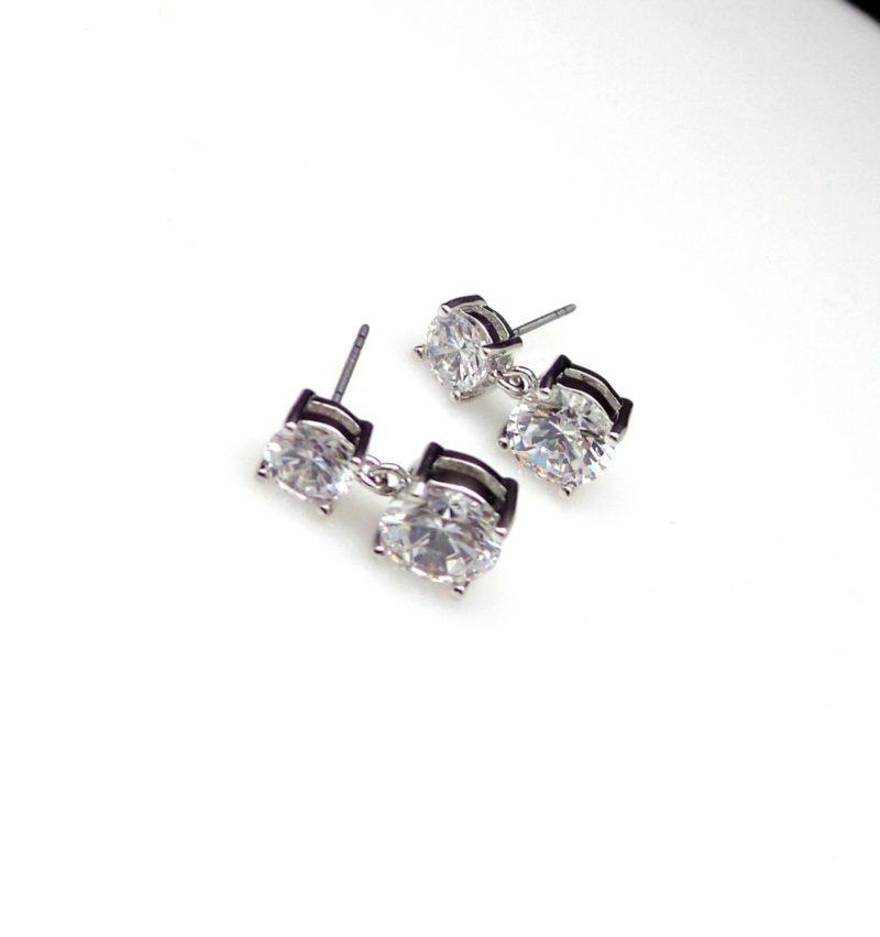 2.90 Ct Round Cut 2-Stone Diamond Drop Stud Earrings 10k White Gold