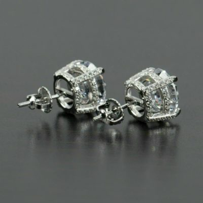 3.20 Ctw Brilliant Cut Round Moissanite Classic Hidden Halo Stud Earrings With Screw Back 14k Gold Plated