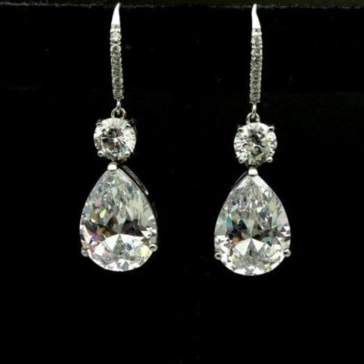4CT Pear Shape White Diamond Solitaire Drop/Dangle Earrings 14k White Gold Over