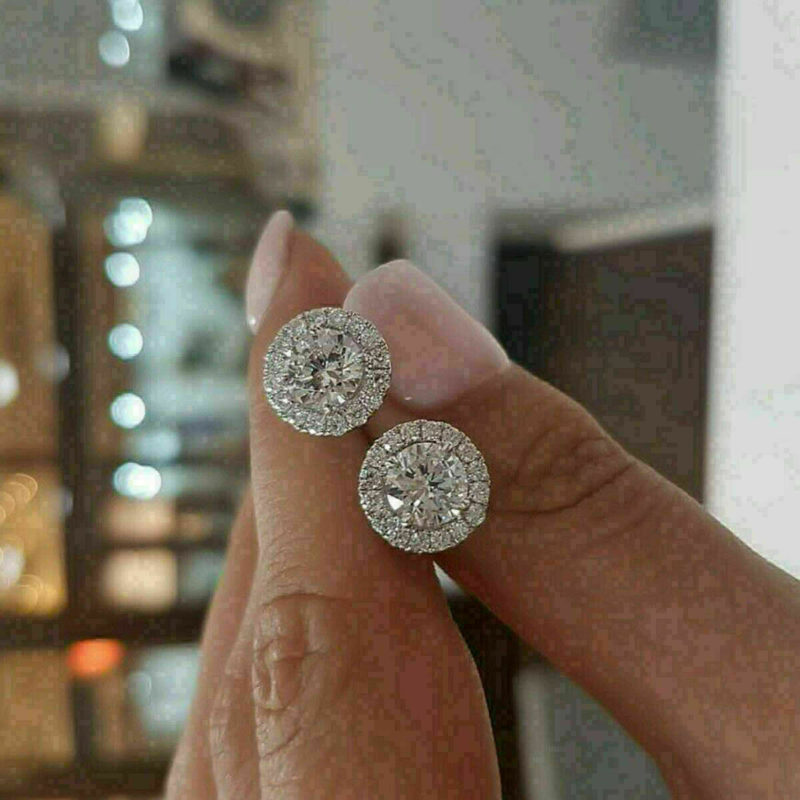 3CT Round Cut Diamond Push Back Halo Stud Earrings Solid 10k White Gold