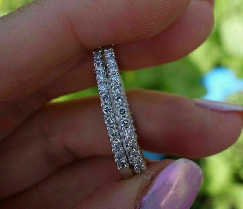 3.00 Ctw Inside Out-Side Round Diamond Women's Hoop Earrings Solid 14k White Gold