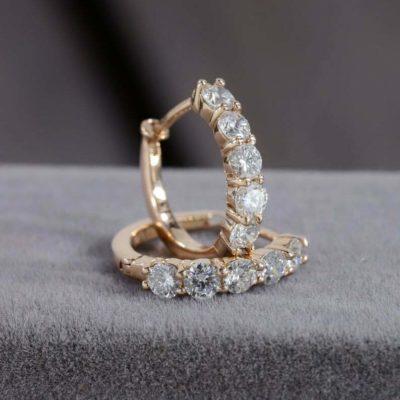 2.60 Ctw Round Moissanite Huggie/Hoop Earrings Solid 14k Rose Gold Earrings