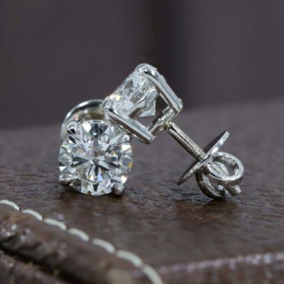 4CT Moissanite Round Cut Solitaire Stud Earrings Solid 10k White Gold Screw Back Earrings