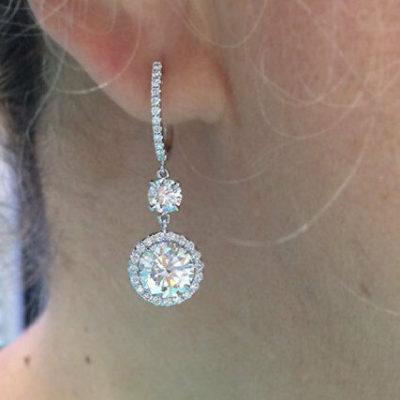 4CT Round Moissanite Halo Drop/Dangle Luxury Wedding Earrings Solid 14k White Gold Lever-back Earrings