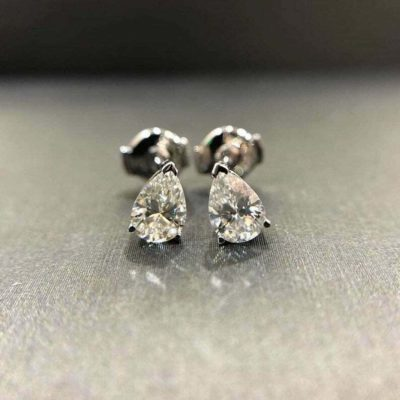 4.Ct Pear Shape Brilliant Moissanite Solitaire Stud Earrings Solid 14k White Gold