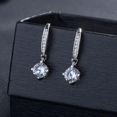 2.50 Ctw Near White Round Moissanite Solitaire Drop/Dangle Earrings 14k White Gold Plated Gift Earrings