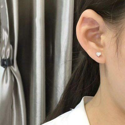 3 CT Heart Shape Moissanite Diamond Solitaire Stud Earrings 14k White Gold Finish
