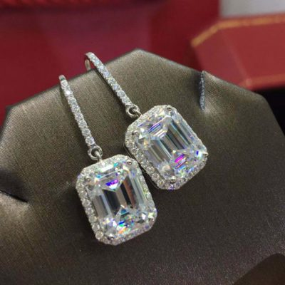 4Ct Emerald Cut Moissanite Drop Halo Engagement Hook Earrings Solid 14k White Gold