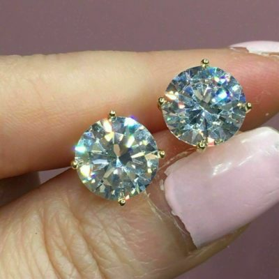 4CT Round Cut VVS1 Moissanite Solitaire Stud Earrings In 14k Yellow Gold Plated