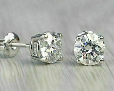 4Ct Excellent Round Cut VVS1 Moissanite Solitaire Stud Screw-back Earrings 14k White Gold Plated
