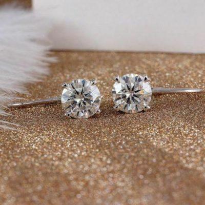 4CT Round Cut VVS1 Moissanite Diamond Drop/Dangle Earrings 14k White Gold Plated