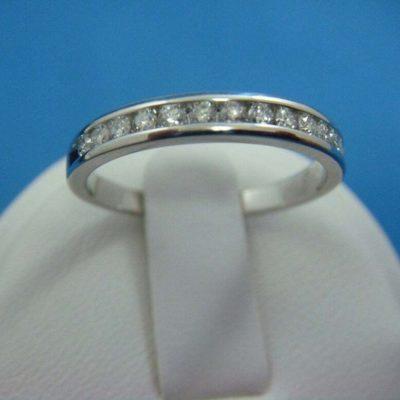 2.00 CTW Round Cut Near White Moissanite Channel Set Wedding Band Solid 14k White Gold