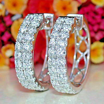 2.50 Ctw Moissanite Inside Out-Side Huggie/Hoop Earrings Solid 10k White Gold Round Cut