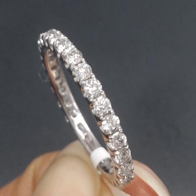 14k White Gold Wedding Band, 1.10 Ctw Round Moissanite Eternity Wedding Ring