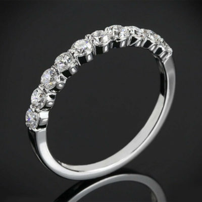 1CT Brilliant Cut Moissanite Half Eternity Classic Prong Wedding Ring 14k White Gold FN