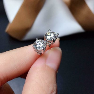 3 Ct Round Cut Moissanite Solitaire Stud Earrings Push-Back 14k White Gold Over