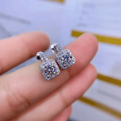 2.60 Ctw Brilliant Cut Round Moissanite Halo Push Back Stud Fancy Earrings 14k White Gold Plated