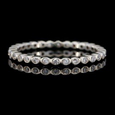 0.36 Ctw Bezel Set Round Moissanite Full Eternity Wedding Band Ring 14k Gold Plated