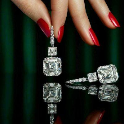 5CT Asscher Cut White Diamond Luxury Wedding Drop/Dangle Earrings In 10K White Gold