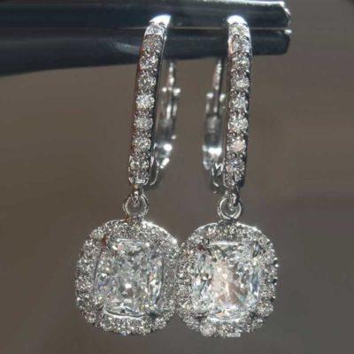 3.00 Ct Cushion Cut Moissanite Drop/Dangle Halo Beautiful Earrings 14k White Gold Over