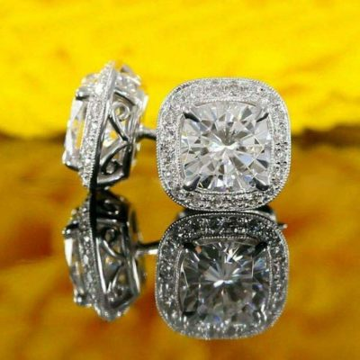3.00 CT Cushion Cut Moissanite Brilliant Halo Screw Back Stud Earrings Solid 14k White Gold