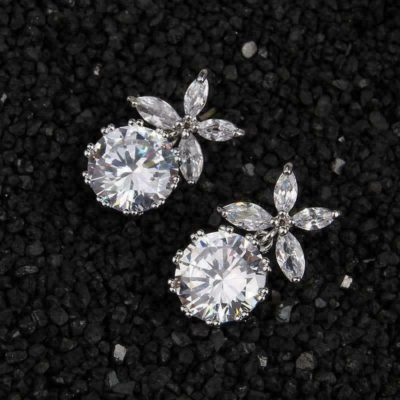 4CT Round Cut Moissanite With Marquise Diamond Fancy Drop/Stud Earrings Solid 14k White Gold