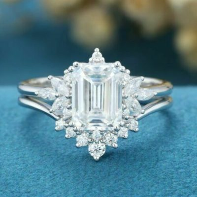 2.00 Ct Emerald Cut Diamond Double Prong Curve Band Wedding Ring Set 14K White Gold Plated