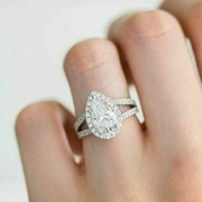 1.60 Ct Pear Cut Diamond Halo Split Shank Wedding Anniversary Ring 925 Sterling Silver