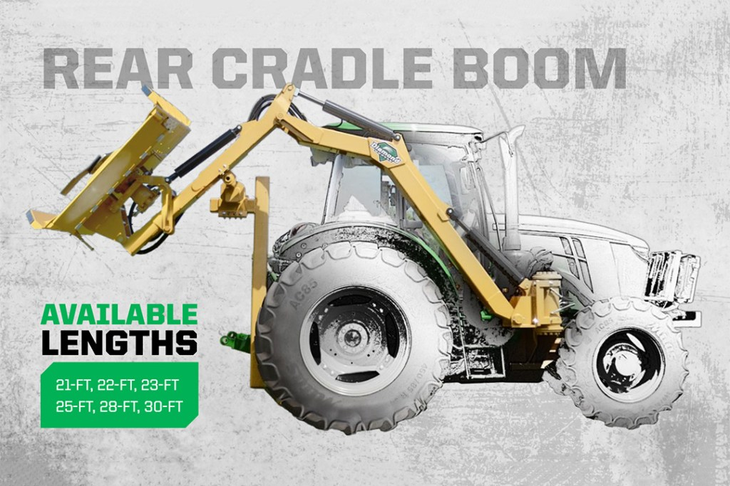 Rear Cradle Boom in 21Ft, 22Ft, 23Ft, 25Ft, 28Ft, and 30Ft Lengths