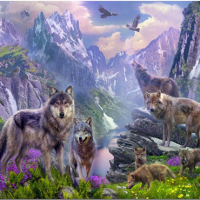 Wolf Pack Mountain Diamond Painting Kit