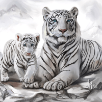 White Tiger Cub Diamond Painting Kit