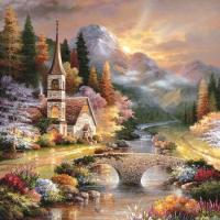 Sunset River Town Diamond Painting Kit